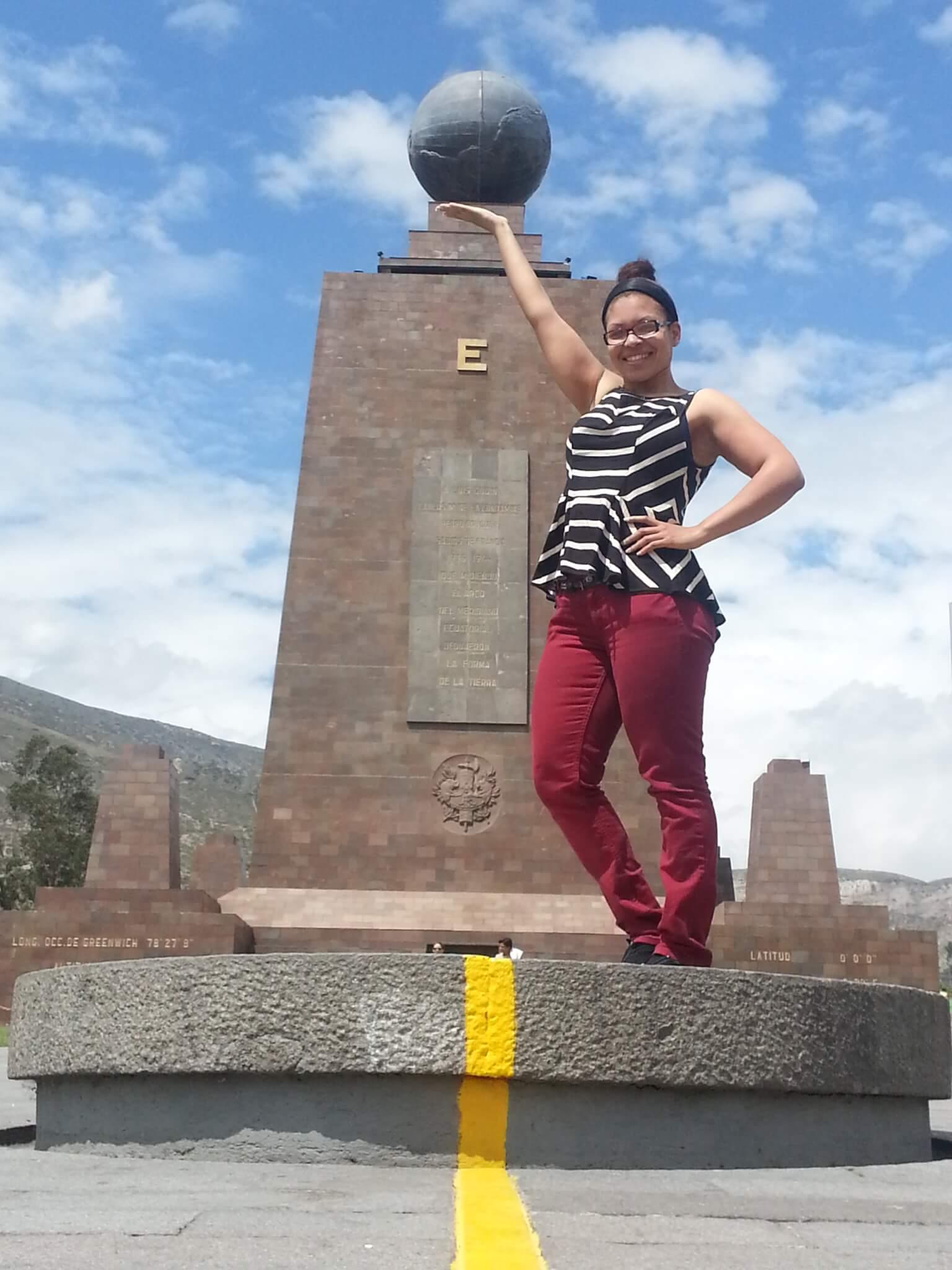I'm at the center of the world!! Quito, Ecuador